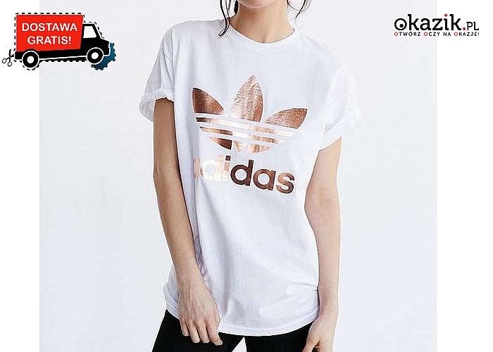 Powrót do korzeni! Damski t-shirt Adidas z dużym logo na przodzie!