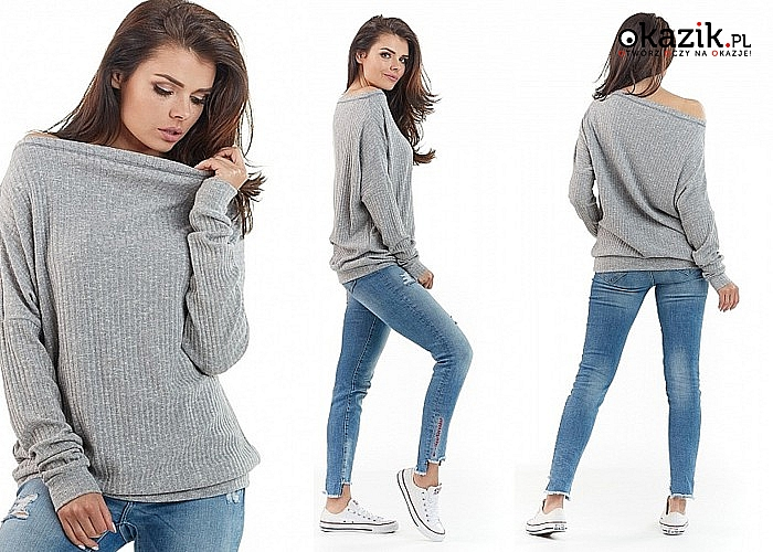 Długi sweter z opuszczanym ramieniem. Różne kolory