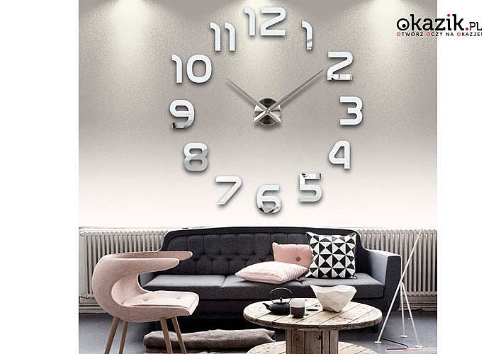 Nowoczesny zegar ścienny 3D. Rozmiar XXL