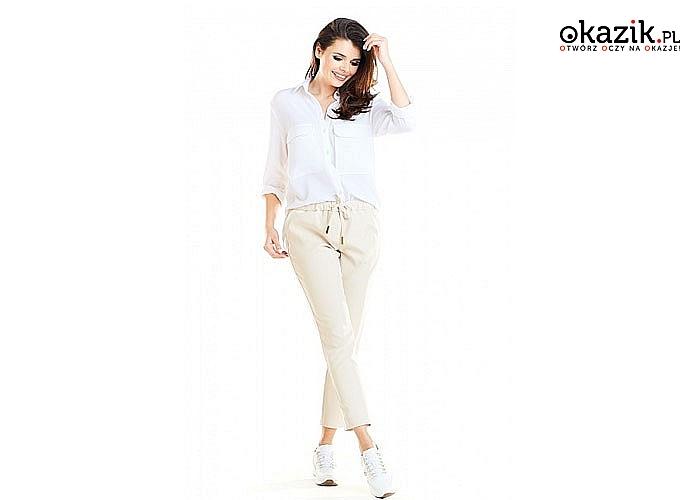 Bardzo modne casualowe spodnie z kieszeniami ,efektownie wysmuklają i wydłużają sylwetkę