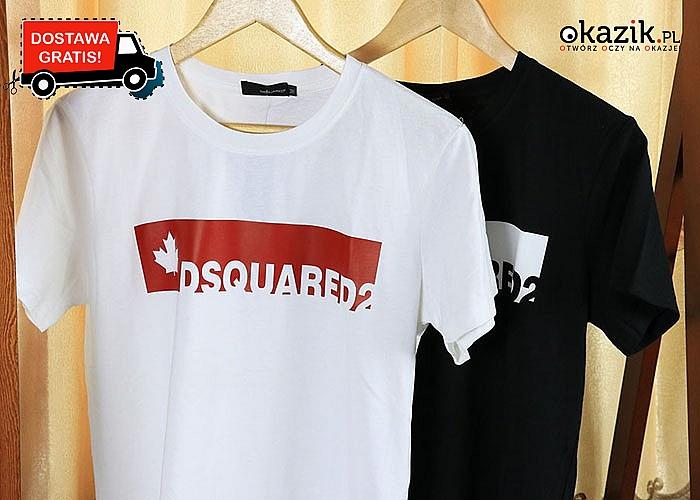 Moda z najwyższej półki! Unikatowe t-shirty Dsquared2! W dwóch kontrastowych kolorach do wyboru.