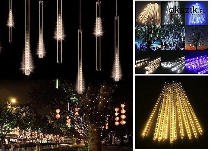 Piękna dekoracja świąteczna!Lampki choinkowe LED! Imitują spadające meteory, wodospad, padający śnieg!