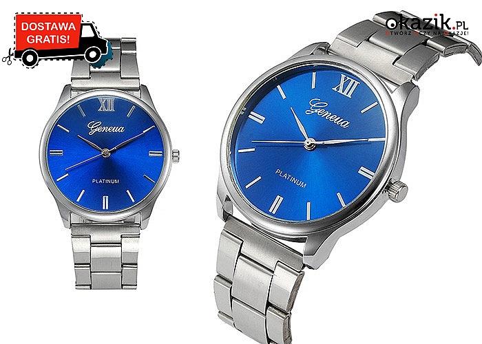 Klasyczny MĘSKI ZEGAREK Geneva Platinum w srebrnym kolorze i z niebieską tarczą. Wysyłka gratis