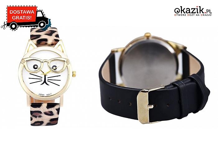 FIGLARNY ZEGAREK NARĘCZNY z tarczą w formie kotka w okularach! 4 kolorów paska do wyboru + przesyłka GRATIS.