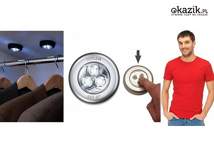 LAMPKI DOTYKOWE LED. Idealne rozwiązanie do szafy, kuchni czy sypialni! Z 3 diodami i taśmą samoprzylepną
