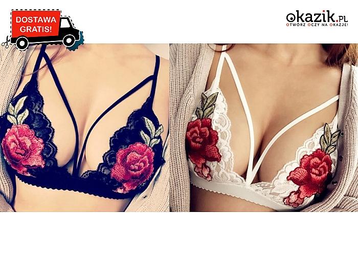 Urocze staniczki z koronki ozdobione pięknymi haftami z różami. Z elastycznymi paseczkami. Wysyłka GRATIS!