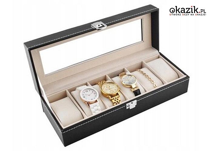 Idealne miejsce na Twoją biżuterię! Kuferek na zegarki z 6 przegrodami!