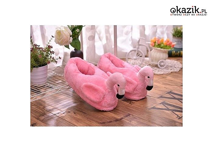 Urocze kapcie domowe z motywem flaminga! Wygodne i komfortowe! Rozmiar uniwersalny!