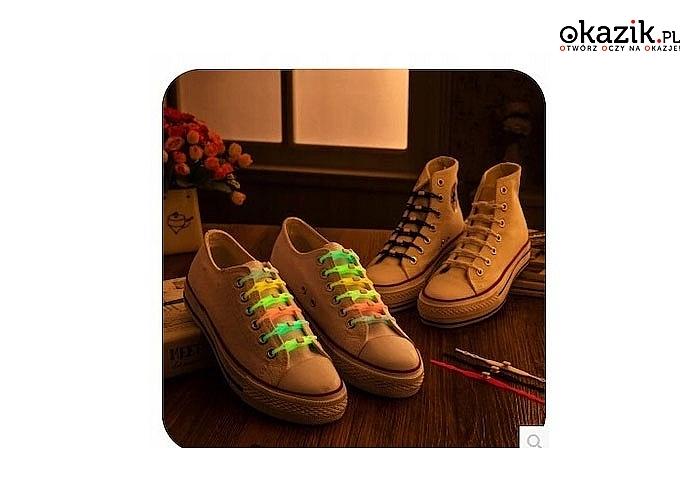 Sznurówki silikonowe do butów! Komplet 6 sztuk! Idealne dla dzieci! Świecą w ciemności!