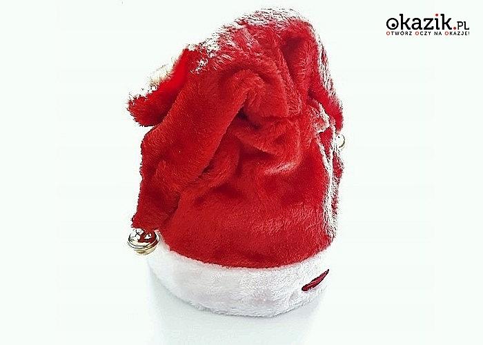 Grająca czapka Świętego Mikołaja! Bardzo fajny i zabawny gadżet świąteczny! Śpiewa i tańczy!