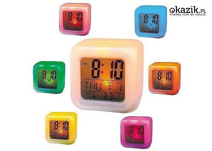 Budzik, zegarek i termometr w jednym urządzeniu! Świecący kameleon LED!