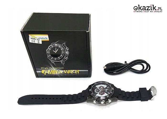 Kamera szpiegowska z detektorem ruchu ukryta w zegarku!