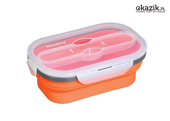 NOWOŚĆ! Silikonowy lunch box KLAUSBERG w komplecie z łyżko-widelcem!  Niezwykle praktyczny!