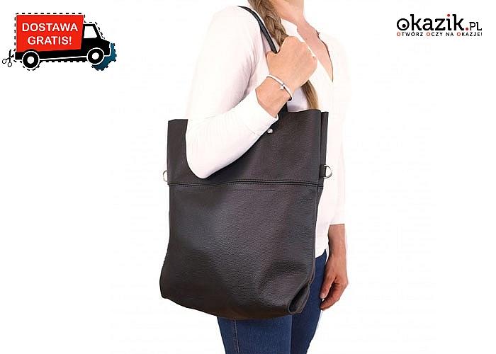 Idealna do pracy czy do szkoły! Torebka- worek z naturalnej skóry licowej w kolorze czarnym.