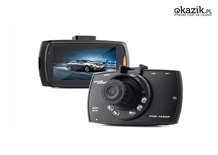 Rejestrator Samochodowy Tryb Noc Full HD. Kamera z wbudowany mikrofonem, który rejestruje dźwięk podczas nagrania !!!