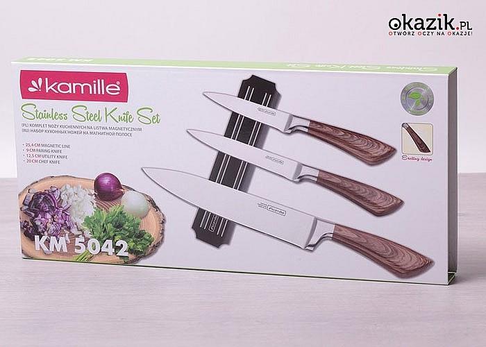 Solidne noże niezbędne w każdej kuchni. Elegancki komplet składający się z3 noży oraz listwy magnetycznej