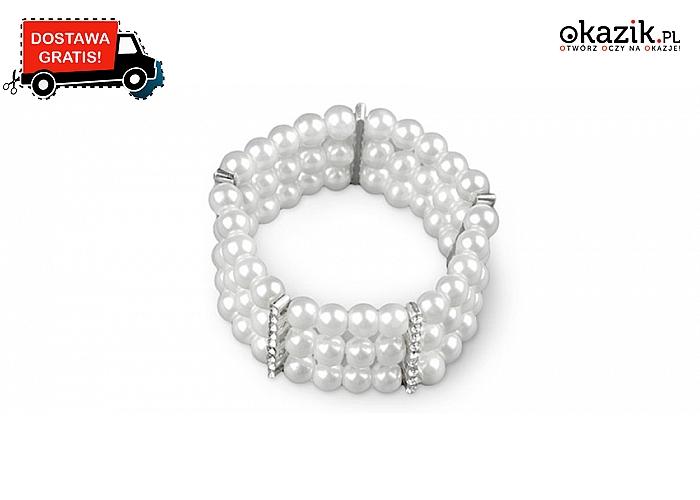 Elegancka bransoletka z pereł seashell ze srebrnymi przekładkami. Wysyłka GRATIS!