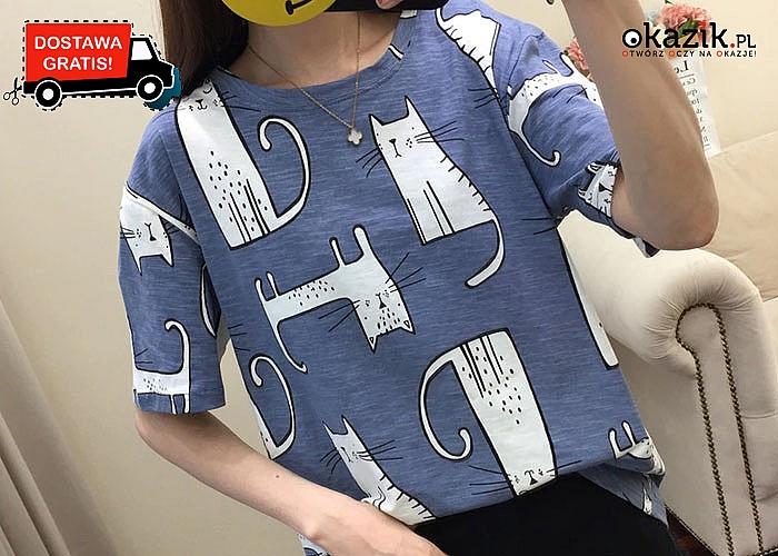 Idealna bluzka dla wszystkich fanek kotów! T-shirt z kreskówkowym motywem w dwóch kolorach do wyboru.