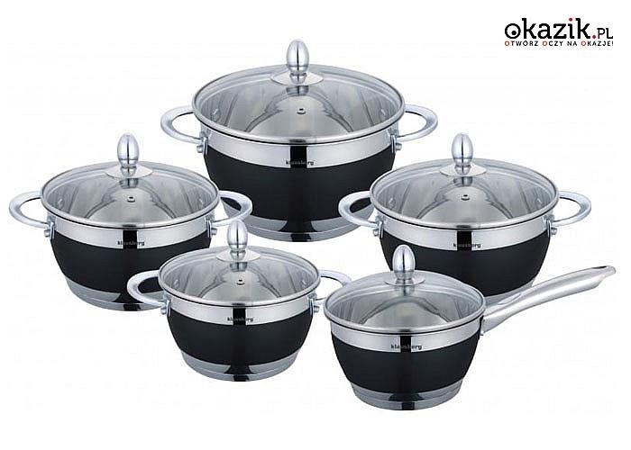 10-elementowy zestaw garnków ze stali nierdzewnej. Do wszystkich rodzai kuchenek