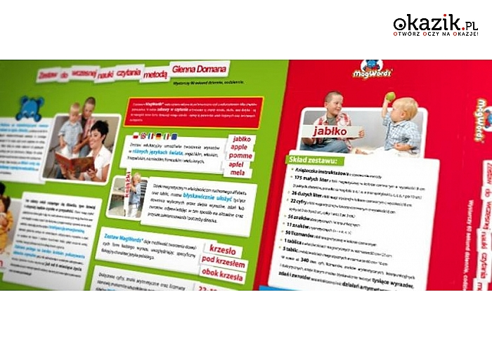 Doskonały zestaw edukacyjny, który umożliwia zabawę w czytanie metodą G.Domana!