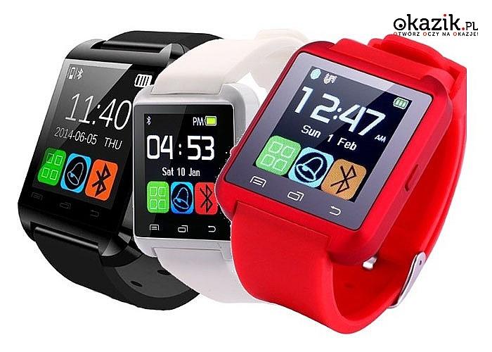 Smartwatch U8! Współpracuje z komputerami telefonami, tabletami! Prosty w obsłudze! Mnóstwo funkcji!