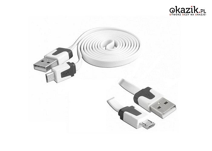 Kabel micro USB! Idealny do ładowania, ale także synchronizacji danych z komputerem! Aż 190 cm!