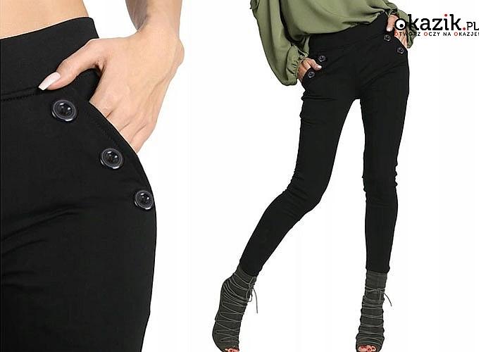 Eleganckie spodnie damskie w rozmiarach plus size! Z gustownymi guzikami.
