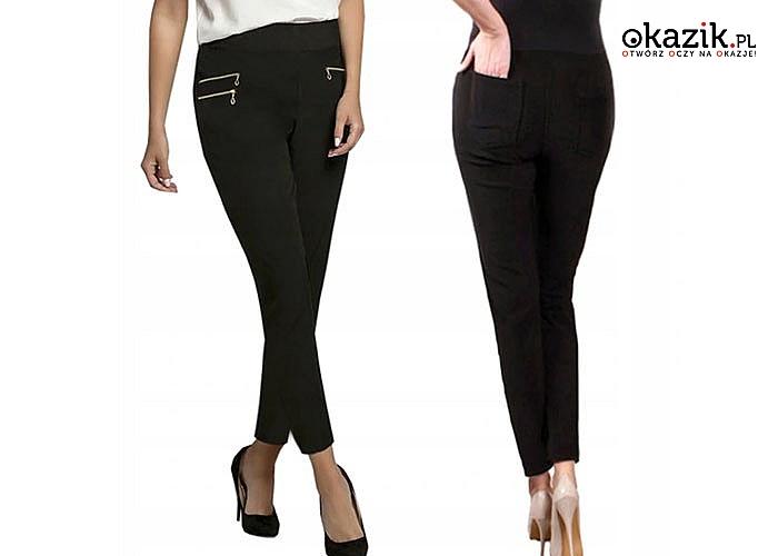 Kobiece spodnie na każdą okazję! Czarne rurki z ozdobnymi zamkami!
