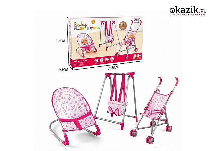 Zestaw 3W1 dla lalki! Wózek, bujaczek i Huśtawka! Idealnie nadaje się na prezent!