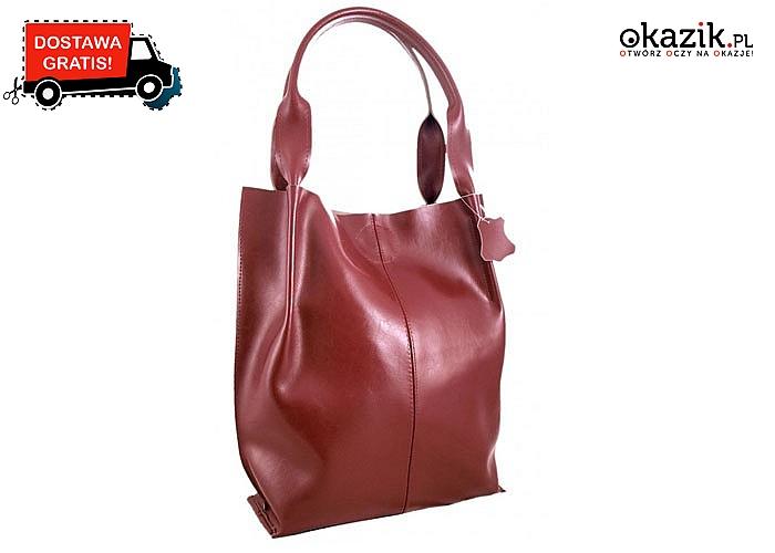Dla kobiet lubiących miejski styl! Skórzana, kasztanowa torebka!