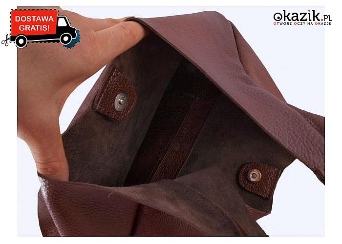 Skórzana torebka- worek. Praktyczna do noszenia na ramię i do ręki. Z zewnętrzną kieszonką zapinaną na magnes