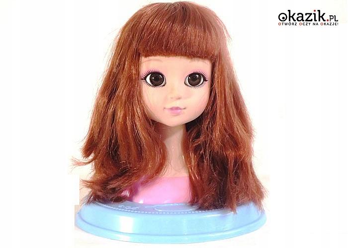 Głowa popiersie lalki do czesania i makijażu, prawdziwe malowidła z akcesoriami