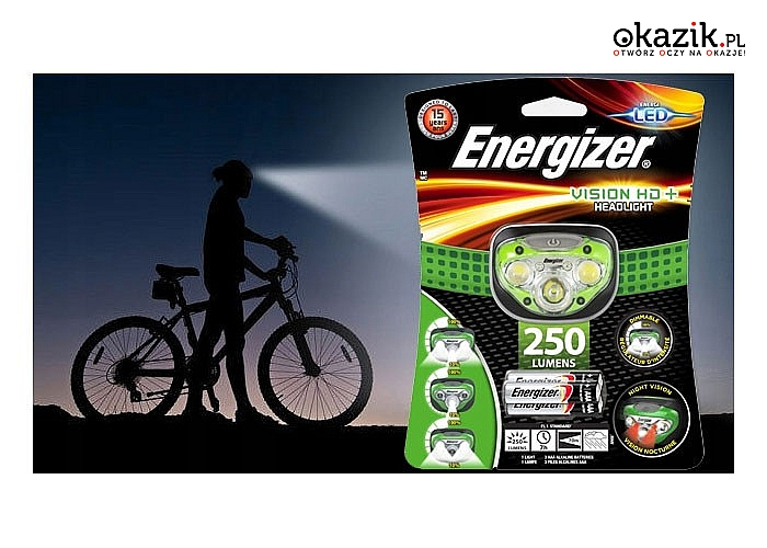 ENERGIZER VISION HD+ LATARKA CZOŁOWA 3LED! Renomowana niemiecka firma!