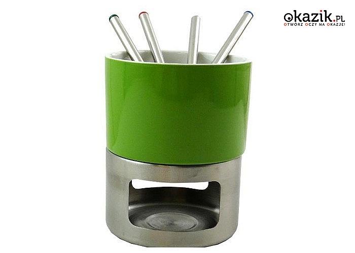 Ceramiczny podgrzewacz do fondue. W zestawie z 4 widelcami