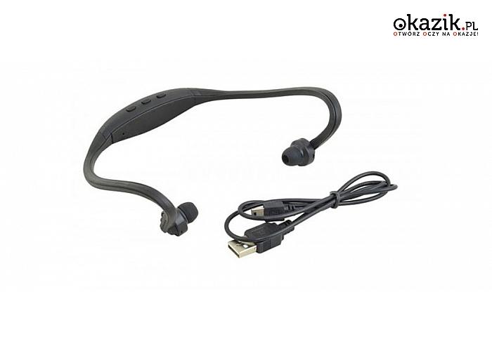 Słuchawki sportowe – bezprzewodowe, z czytnikiem kart pamięci i radiem FM