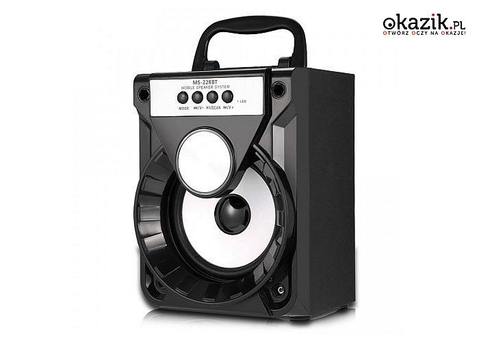 Głośnik bluetooth boombox wyposażony w mp3, wejście na karty SD, radio FM i złącze USB!