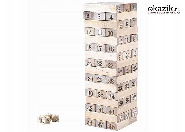 Chwiejąca się wieża! Towarzyska gra dla całej rodziny! Drewniana Jenga!