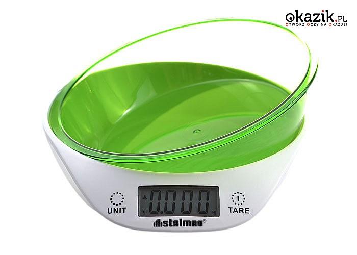 Elektroniczna waga kuchenna z zieloną miską! Obciążenie 5kg! Funkcja tarowania!