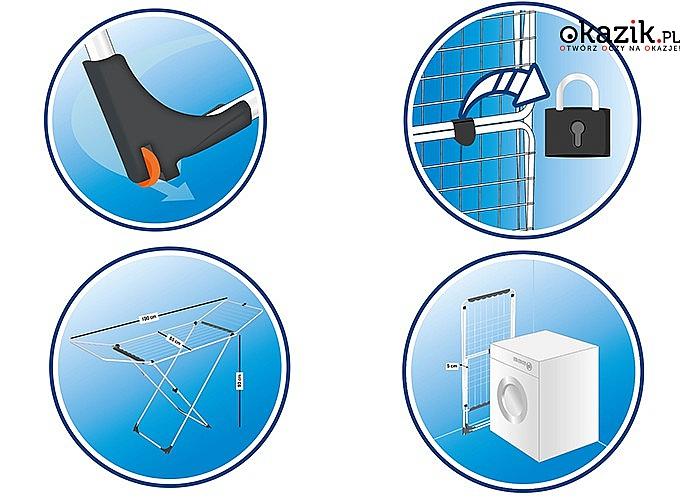 Vileda Uniwersal to bardzo stabilna, poręczna, łatwa do składania, kompaktowa suszarka do prania