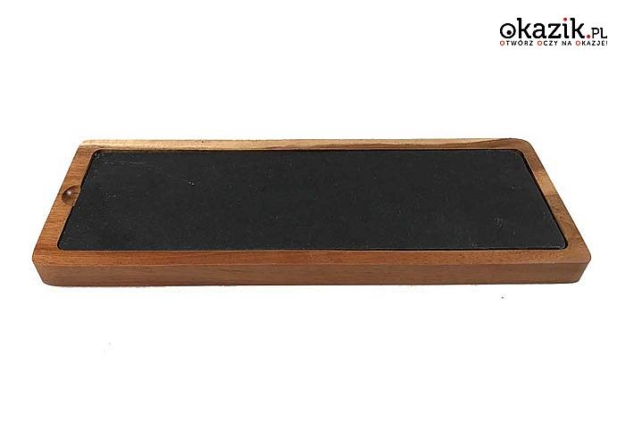 Deska drewniana z wkładem z naturalnego kamienia łupkowego do serwowania przekąsek, deserów, wędlin, sushi.