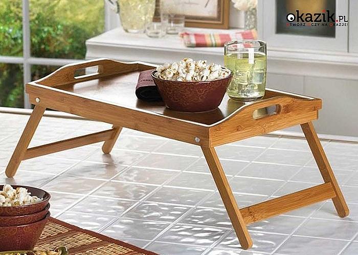 Drewniany stolik śniadaniowy- idealny na śniadanie do łóżka, do pracy czy do zabawy dla dzieci.
