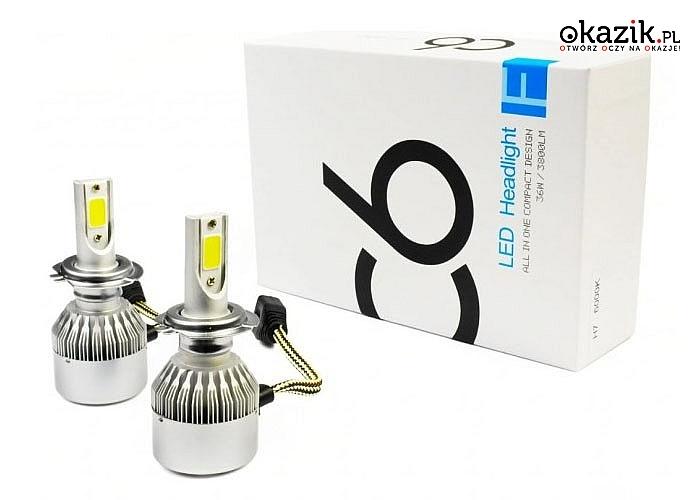 Popraw widoczność w swoim samochodzie! Żarówki LED COB! Do wyboru H1, H7 i H4.