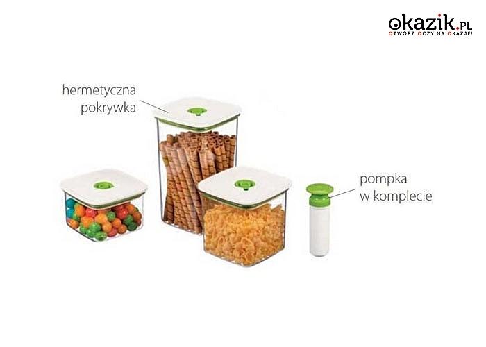 Idealne do przechowywania żywności- pojemniki próżniowe z pompką.