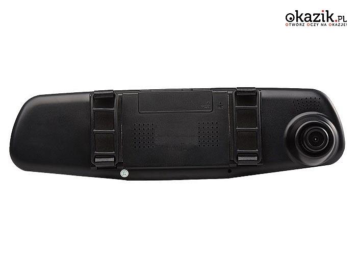 Bardzo praktyczny wideorejestrator jazdy  wraz z kamerą cofania .Urządzenie montowane do lusterka wstecznego