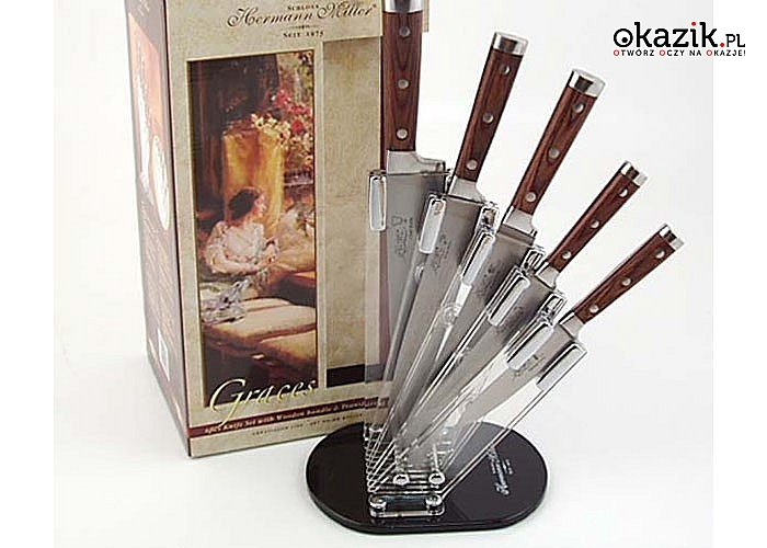 Oryginalny zestaw noży kuchennych Hermann Miller w designerskim bloku!