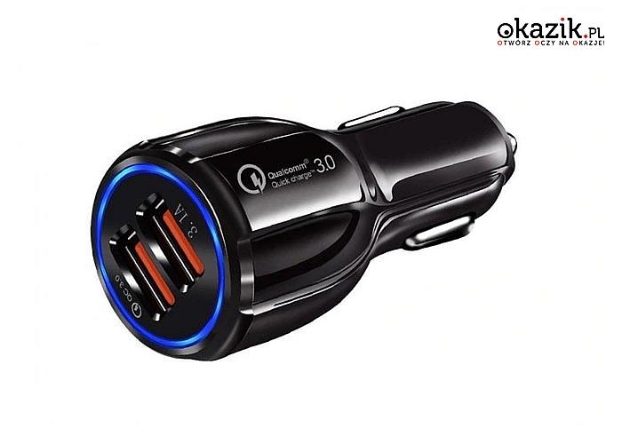 Szybka 3.1A ładowarka samochodowa QUALCOMM QC 3.0, kolor czarny