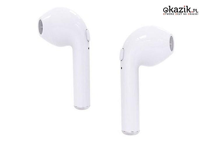 Bezprzewodowe słuchawki BT I7S TWS Z Powerbankiem. Kolor biały.
