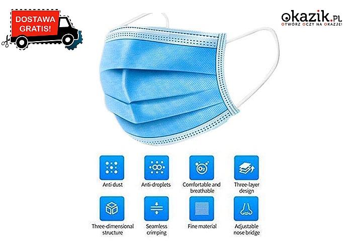 Antybakteryjna maseczka jednorazowego użytku.