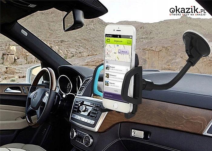 Wygodny uchwyt na telefon do samochodu! Idealny na przednią szybę!
