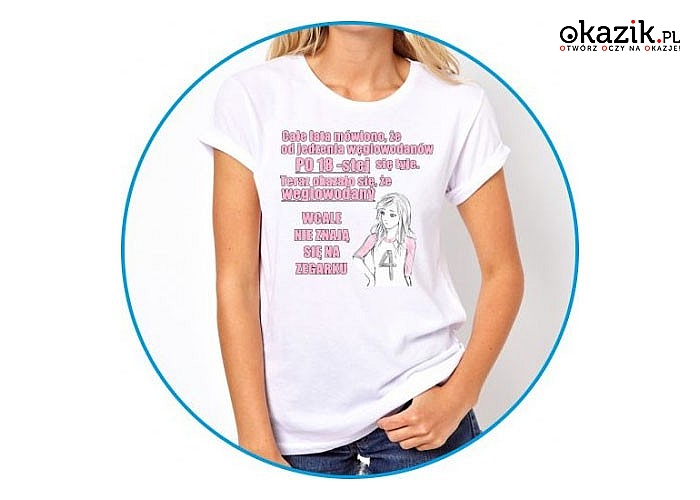 Zabawna koszulka damska! Doskonały materiał! Mnóstwo wzorów i rozmiarów! Dwa kolory!